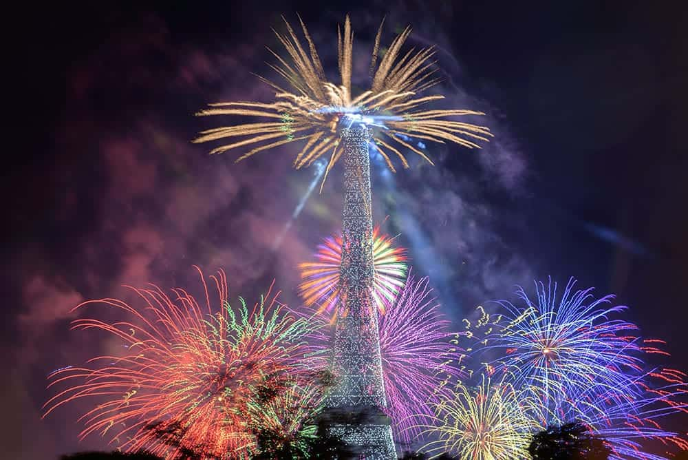 Fireworks from the Eiffel Tower on Bastille Day