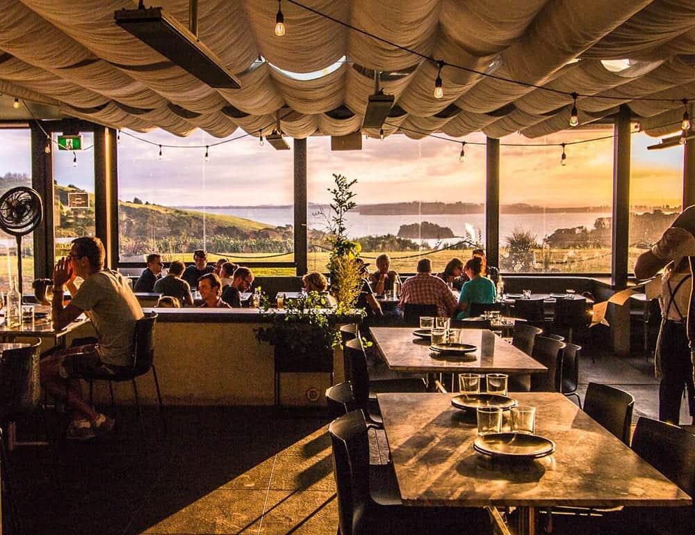 Cable Bay Vineyard views looking back at Auckland city from Waiheke Island