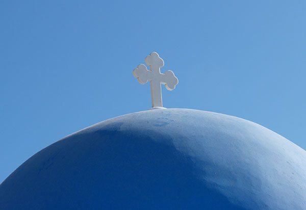 Santorini blue dome