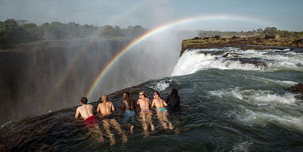 Tourists in Devils Pool Zambia