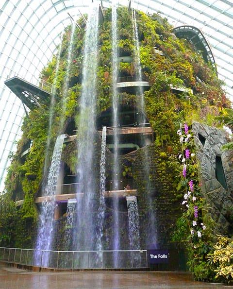 Gardens by Bay waterfall