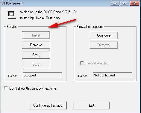 install dhcp server on windows 7