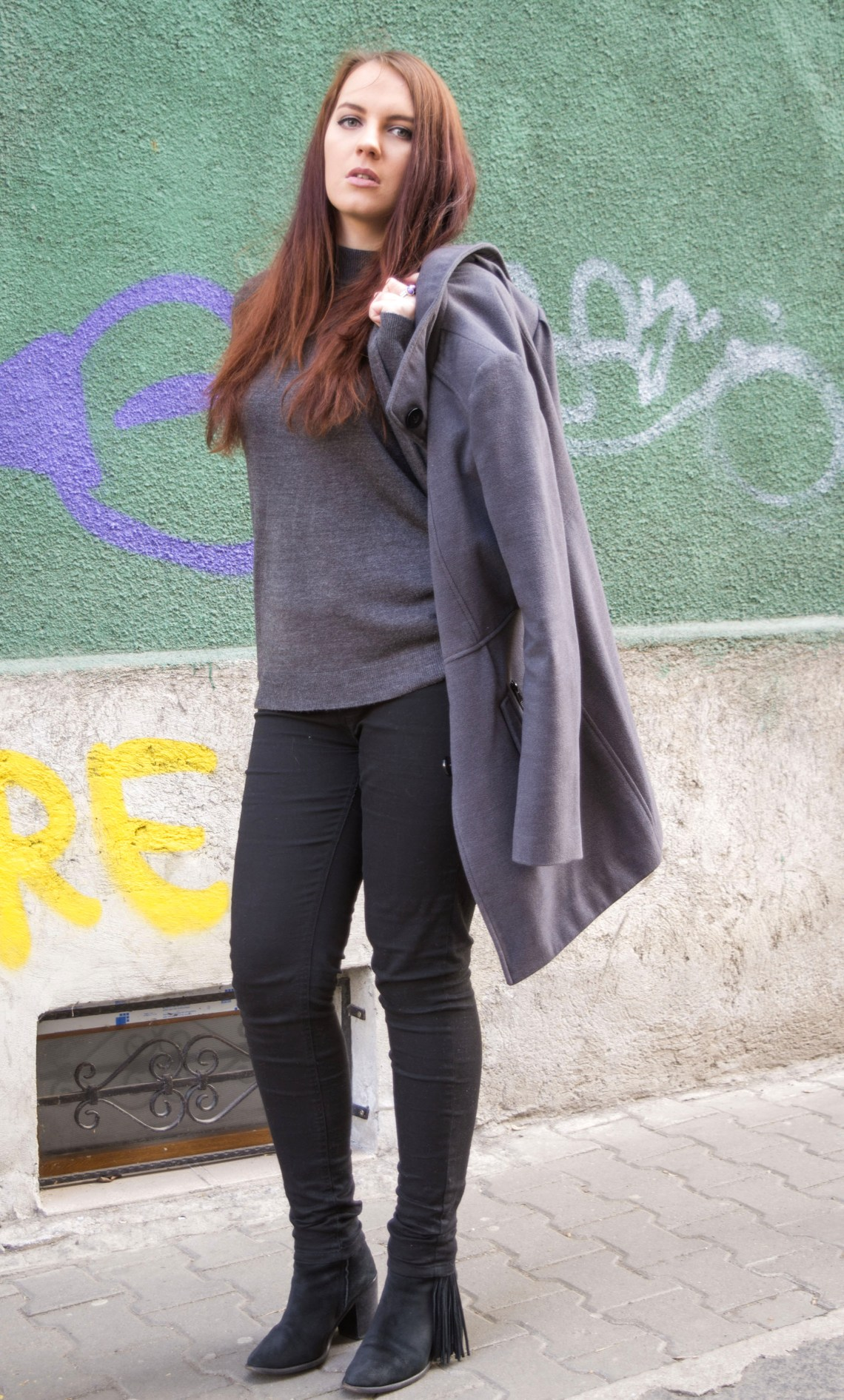 winter ootd - grey coat and turtleneck, black trousers and boots (4)