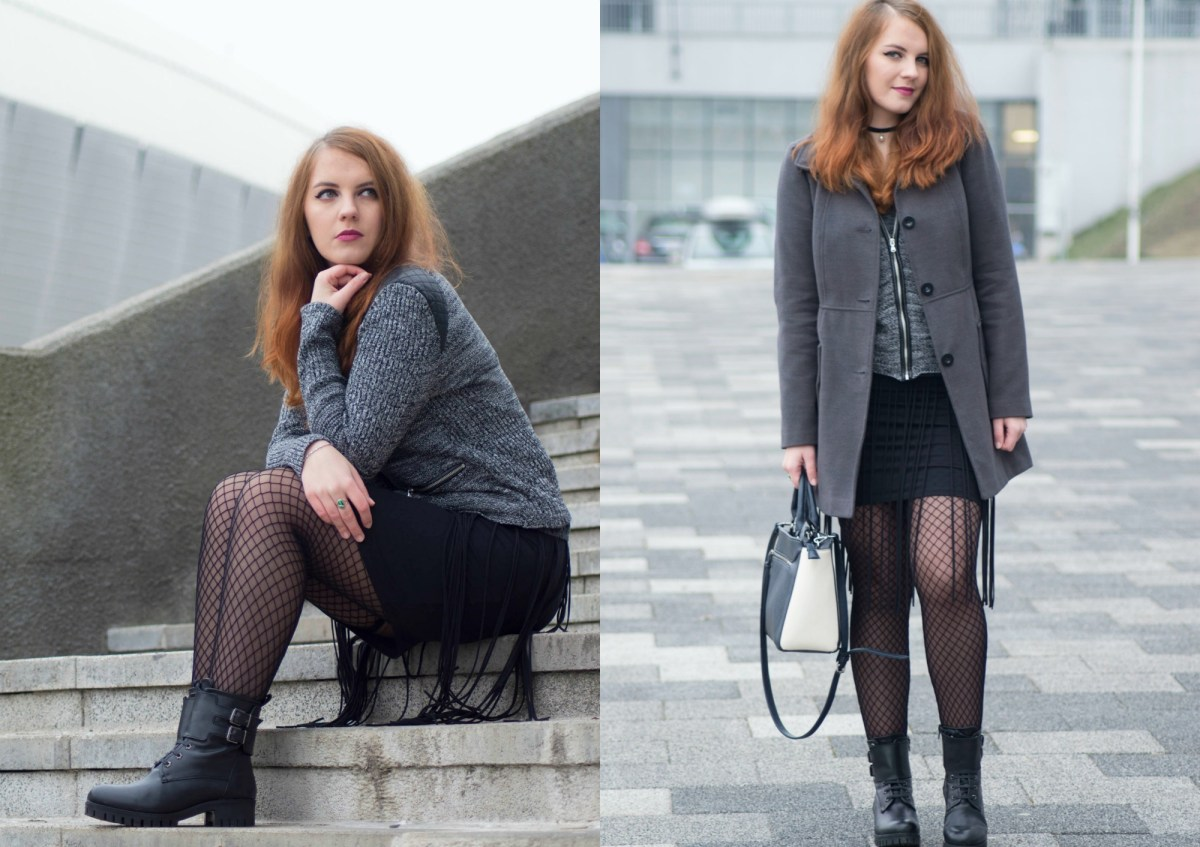 Casual Christmas Holiday #OOTD: Rocker Boots & Fishnet Tights