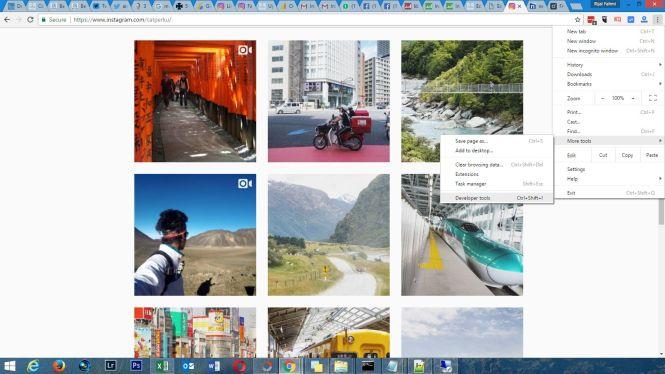 Pilih menu developer tools