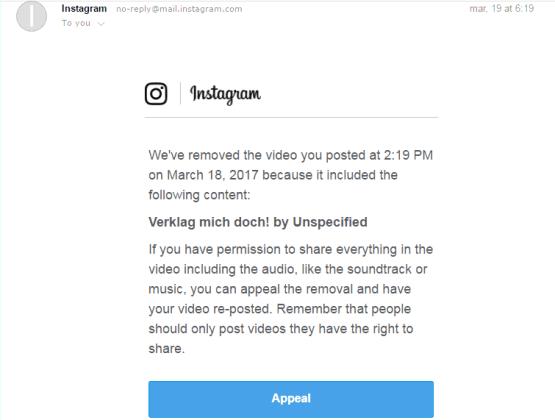 instagram copyright music appeal