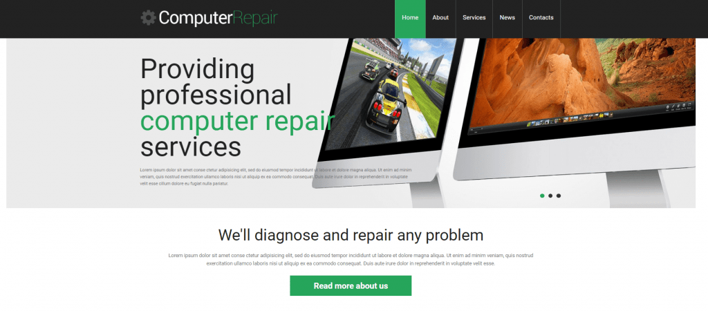 responsive computer repair shop theme
