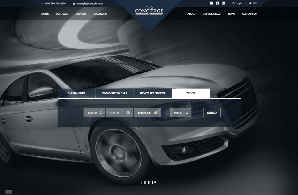 Concierge Elegant Cab, Limo, Yachts Booking WP Template