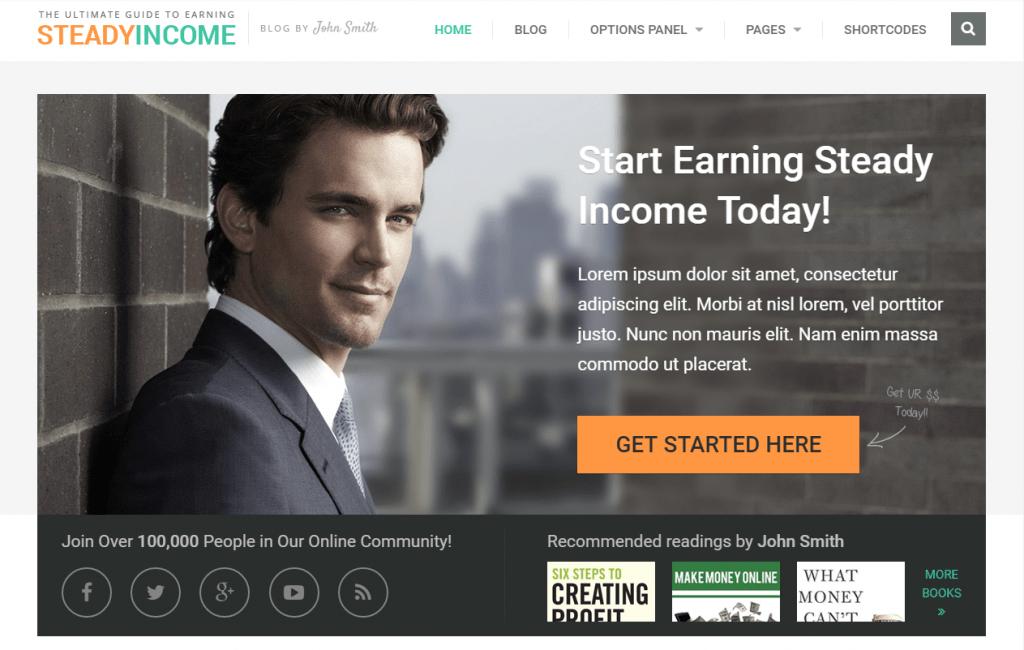 SteadyIncome- Personal Blog WordPress Theme