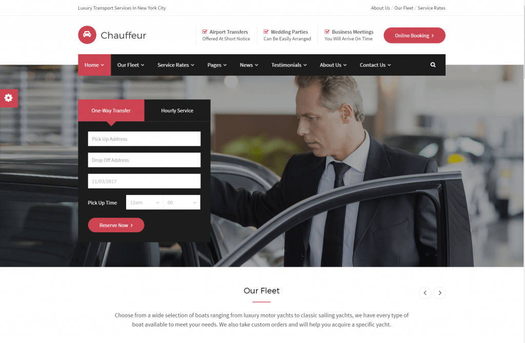 Chauffeur Car Hire Responsive WordPress Template