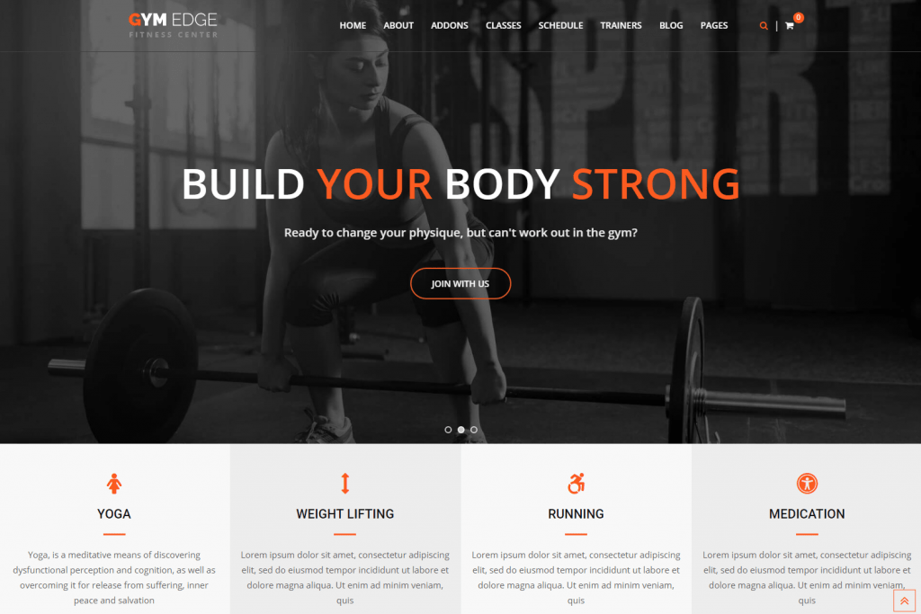 Gym Edge - Fitness Website WordPress Theme
