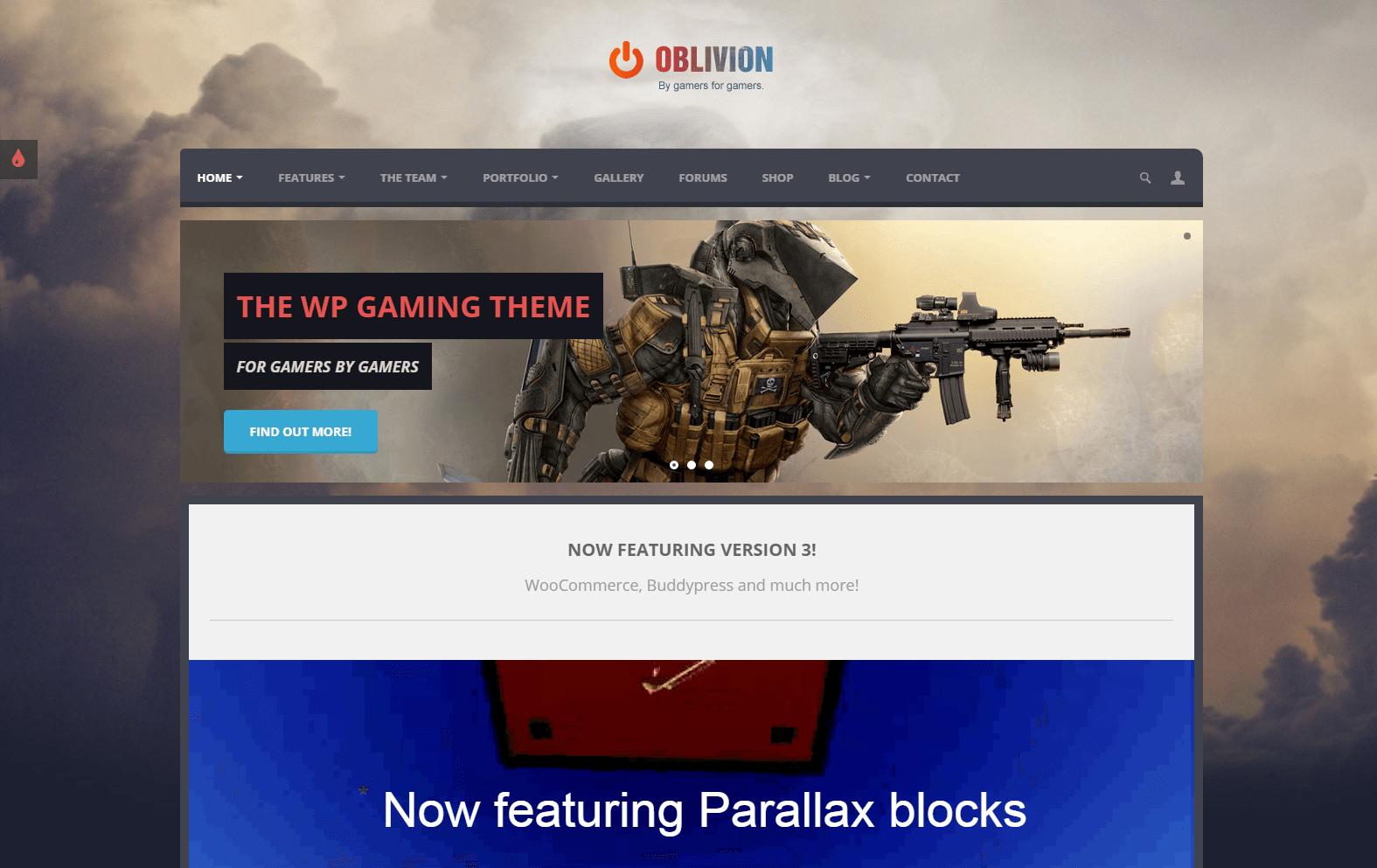 Oblivion - Multipurpose Gaming Theme