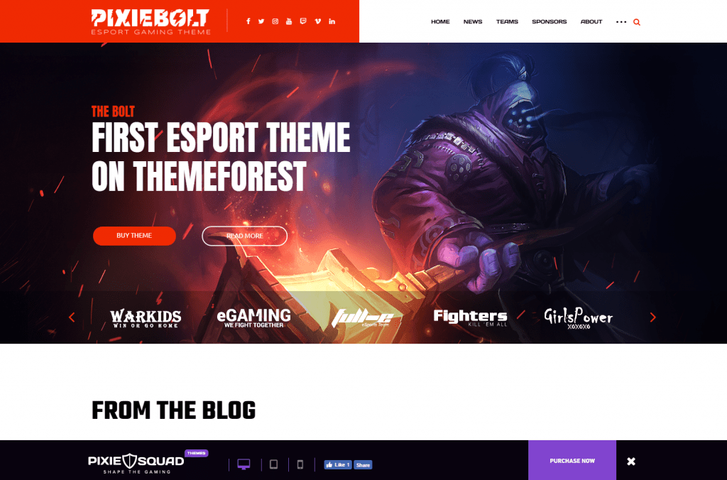 PixieBolt - Gaming theme for Clans and bloggers