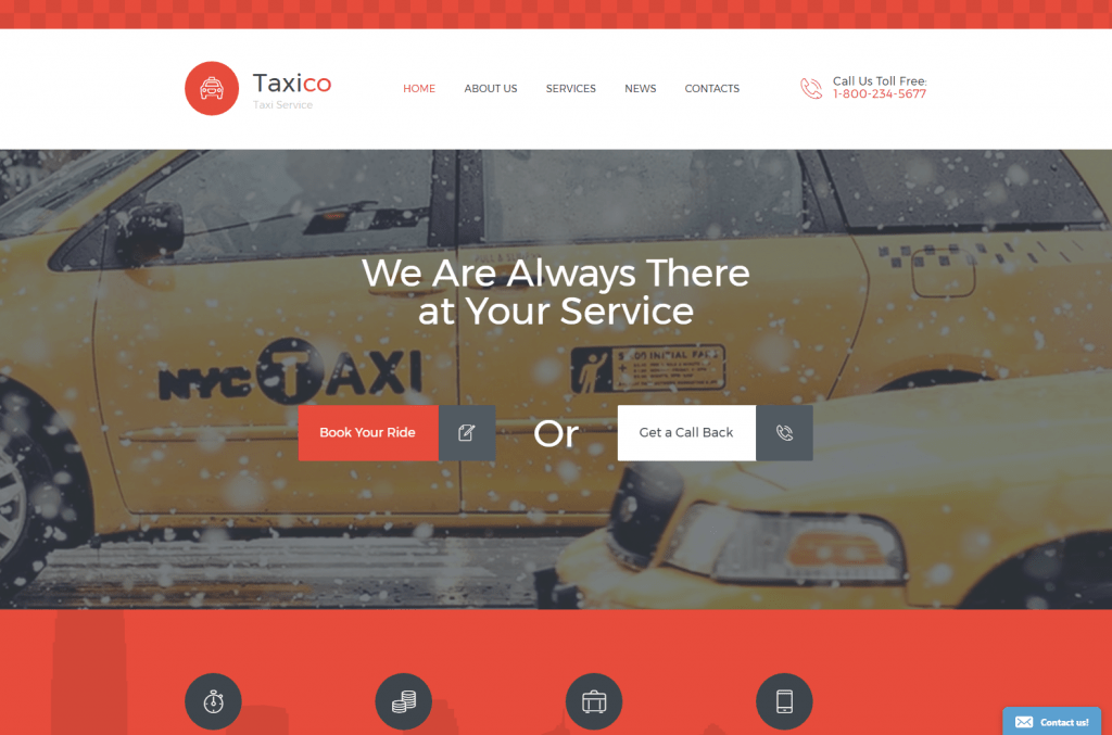 TaxiCo Cab Booking Website Template