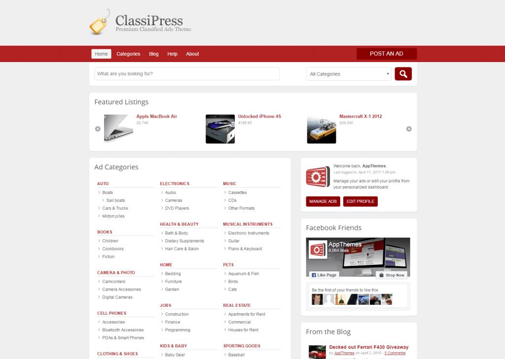 ClassiPress - WordPress Listings WordPress Theme