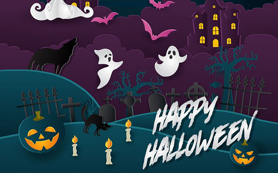 Scary Paper Art Style Happy Halloween Card