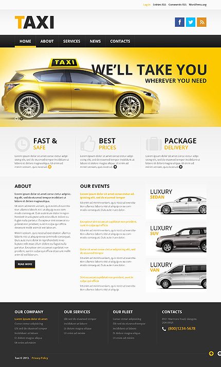 Taxi Service WordPress ThemeTaxi Service WordPress Theme