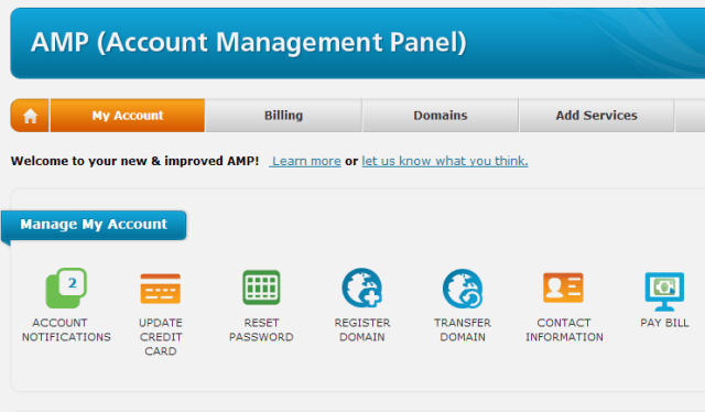 Web Hosting Hub Account Management Panel
