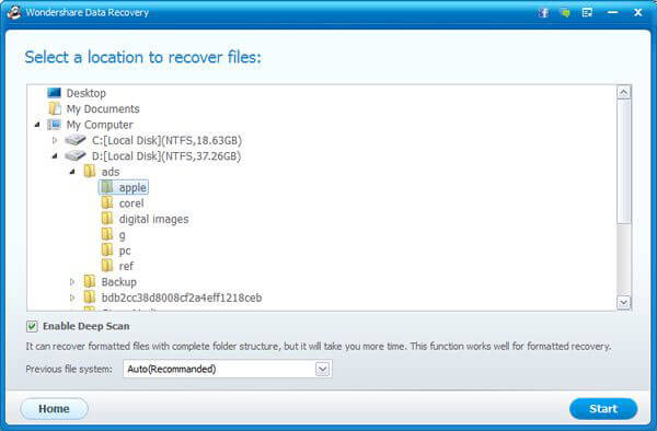 Instruction on using Wondershare Data Recovery