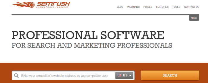 SEMrush service for competitors research