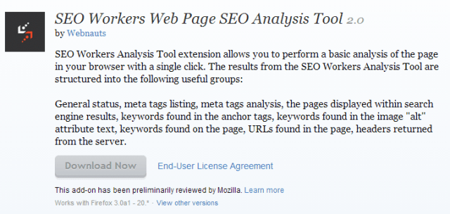 SEO Workers Web Page SEO Analysis Tool    Add ons for Firefox