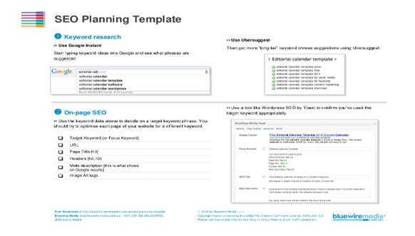 SEO planning template
