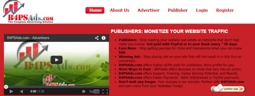 B4PSAds.com Pay Per Click Advertising Network - Adsense Alternative