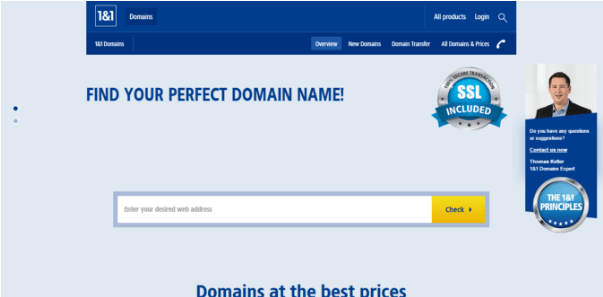 1&1 - top expired domain website