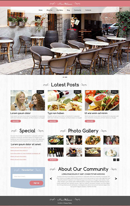 Free Cafe WordPess Template