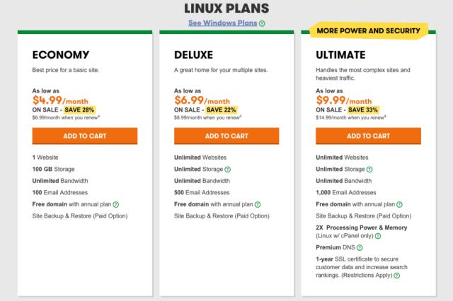 Godaddy Web Hosting Linux plans
