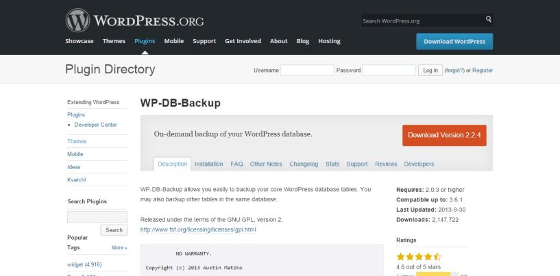 WordPress database backup