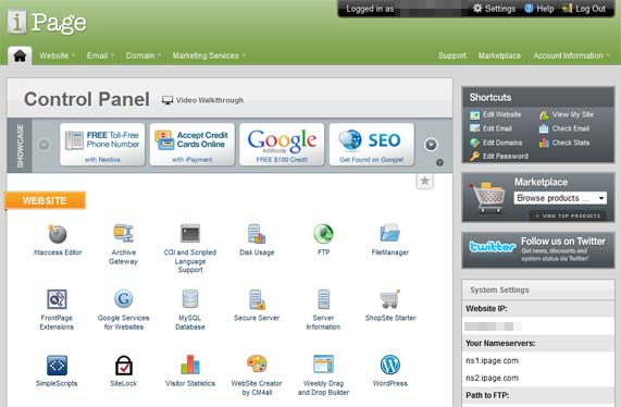 ipage control panel - ipage vs Godaddy vs HostGator