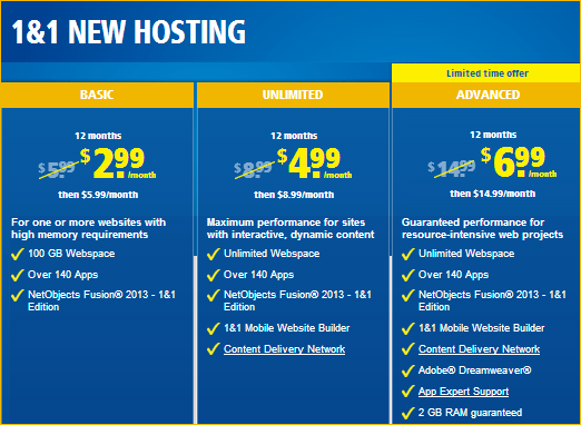 1 and 1 hosting