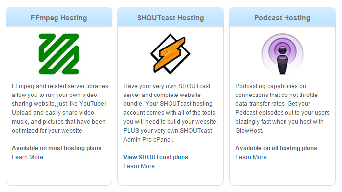 Glowhost Media Hosting FFmpeg Video Hosting SHOUTcast and Podcast Web Host