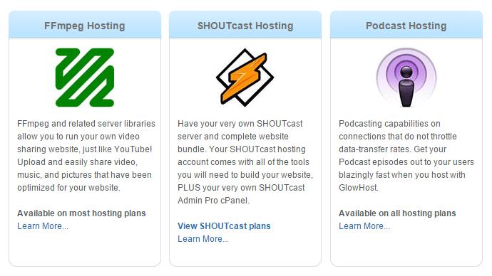 Glowhost Media Hosting FFmpeg Video Hosting SHOUTcast and Podcast Web Host