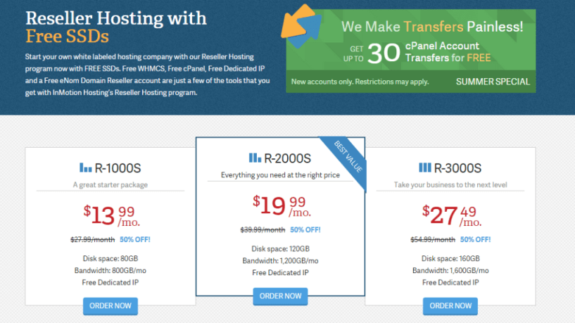 InMotion Hosting Reseller Hosting with SSDs