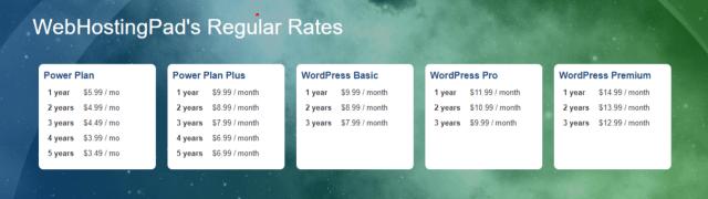 webhostingpad- site compariosn