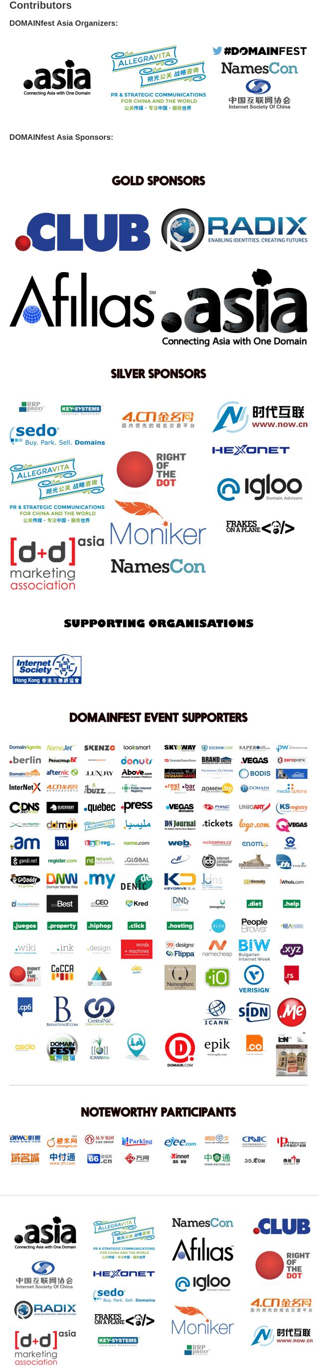 DOMAINfest Asia  Contributors