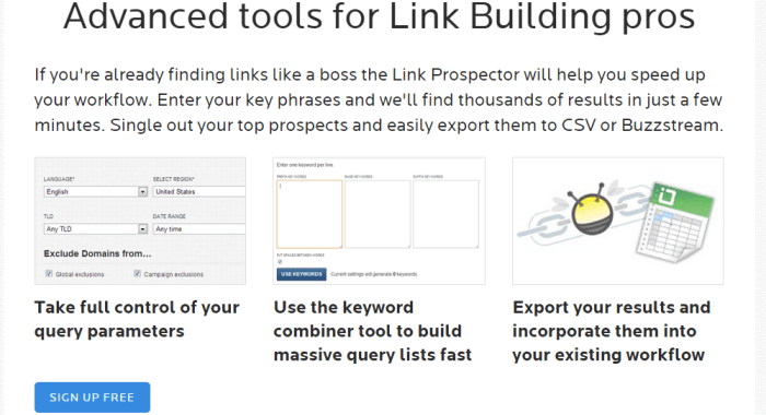 Wordtracker's Link Builder - Backlink software