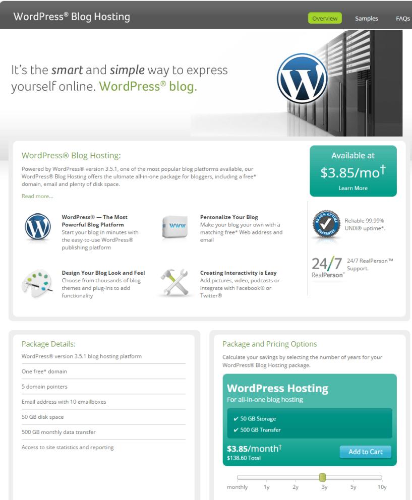 Network Solutions WordPress Blog Hosting