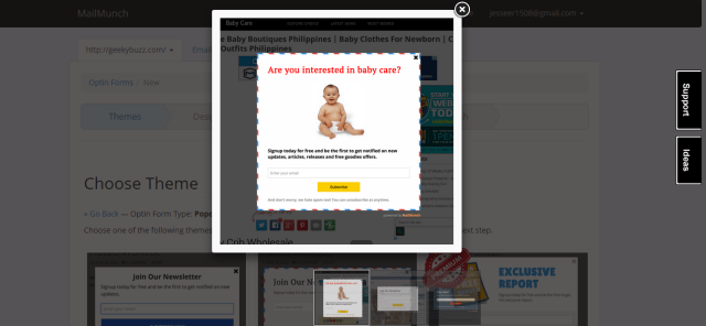 Pop-up Preview on MailMunch