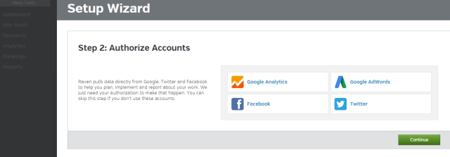 Raven Setup Wizard   Add Google analytics