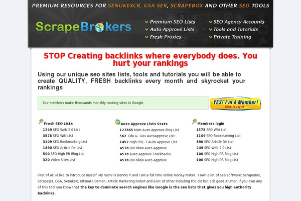 ScrapeBrokers Review homepage