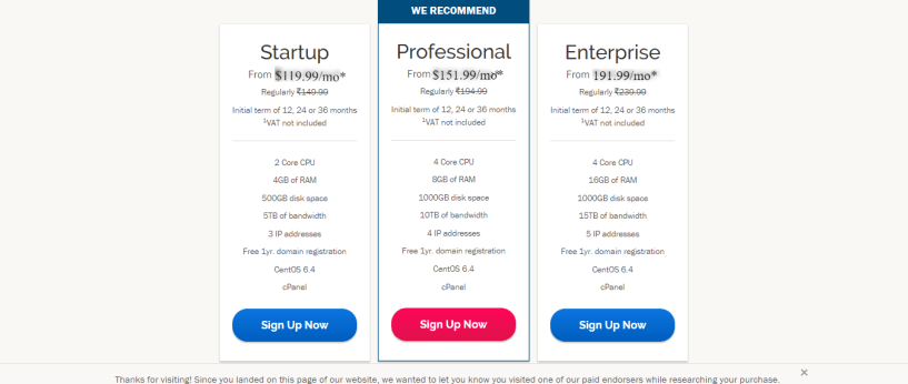 iPage dedicated hosting prices
