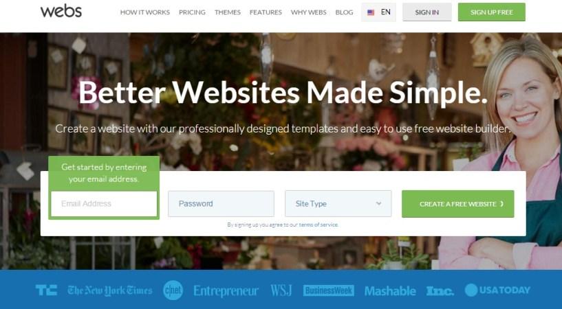 webs review homepage - website builders india