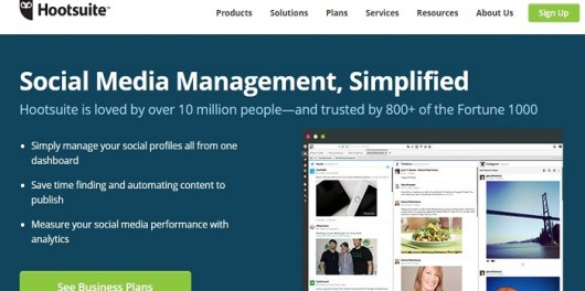Hootsuite review homepage