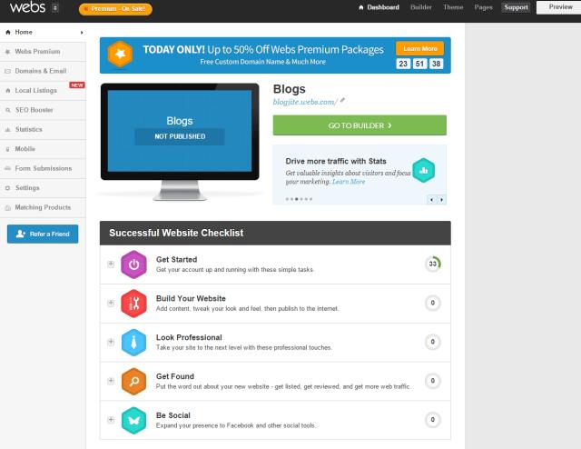 Webs SiteBuilder Dashboard Overview
