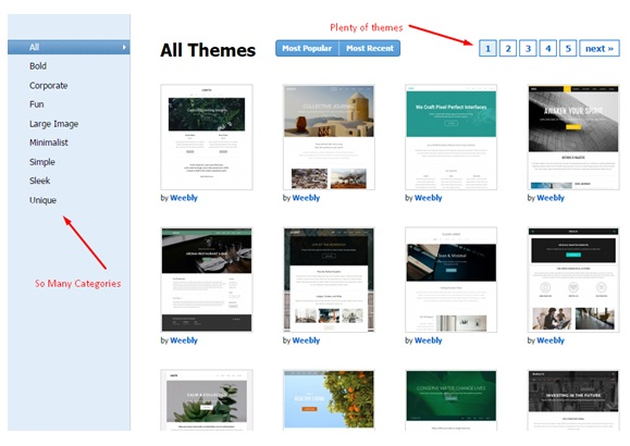 Weebly review themes