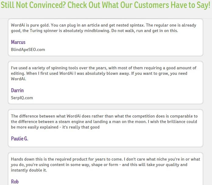 WordAI review customer testimonial