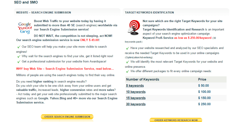 awardspace Search Engine Submission Service Social Media Optimization Service